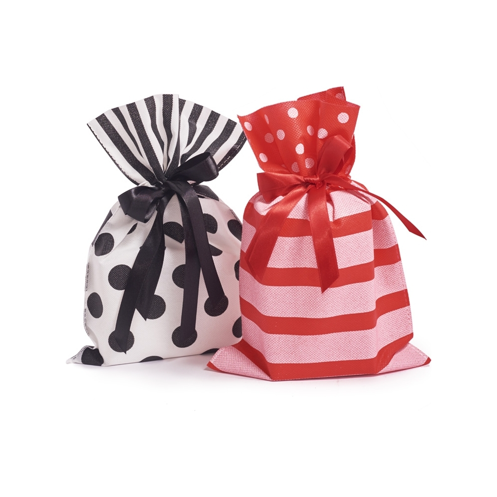 Buste tessuto non tessuto con pois e nastro (10 pezzi)