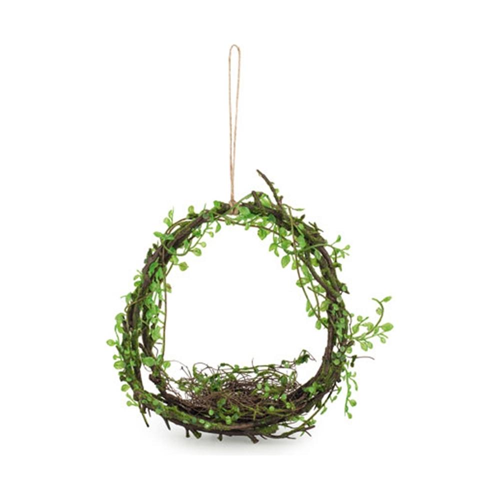 Corona da appendere con foglie e nido