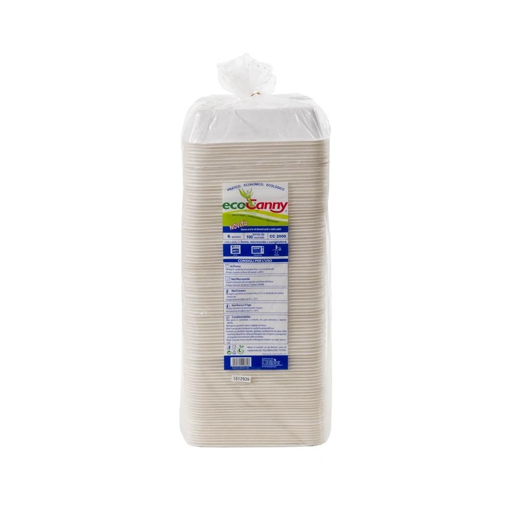 Vaschetta bio - compostabile 6 porzioni (100 pezzi)