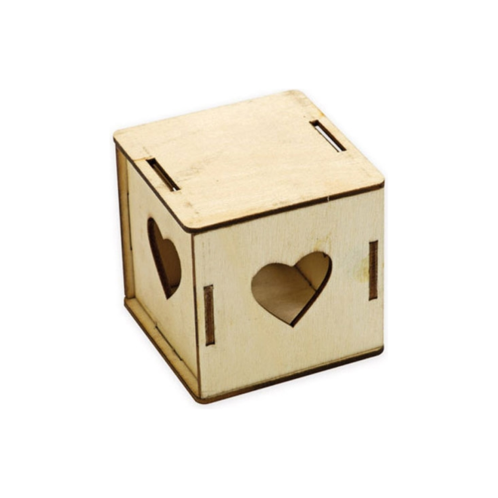 Scatola in legno cuori (6 pezzi)
