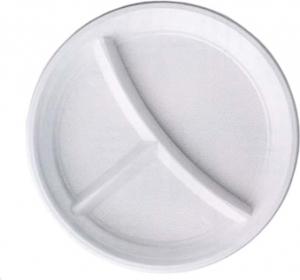 PIATTI IN PLASTICA A TRE SCOMPARTI (100 PEZZI)
