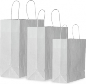 Busta shopper in carta con manico in cotone