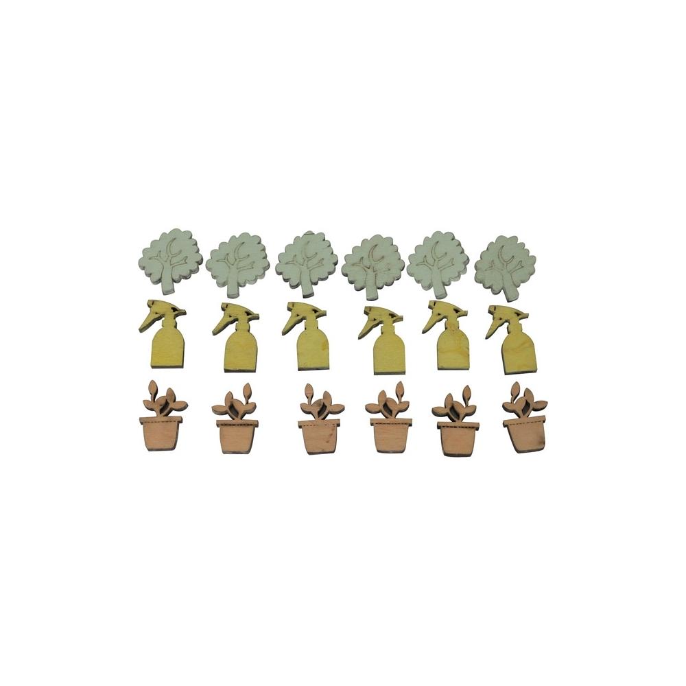 Soggetti primaverili in legno (18 pezzi)