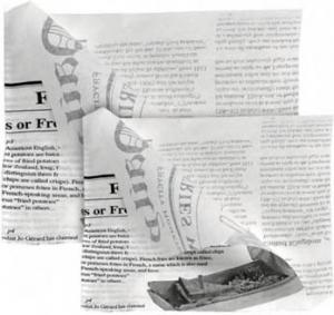 SACCHETTI IN CARTA KRAFT APERTI SU DUE LATI fantasia giornale per asporto e take away - ingrosso online b2b