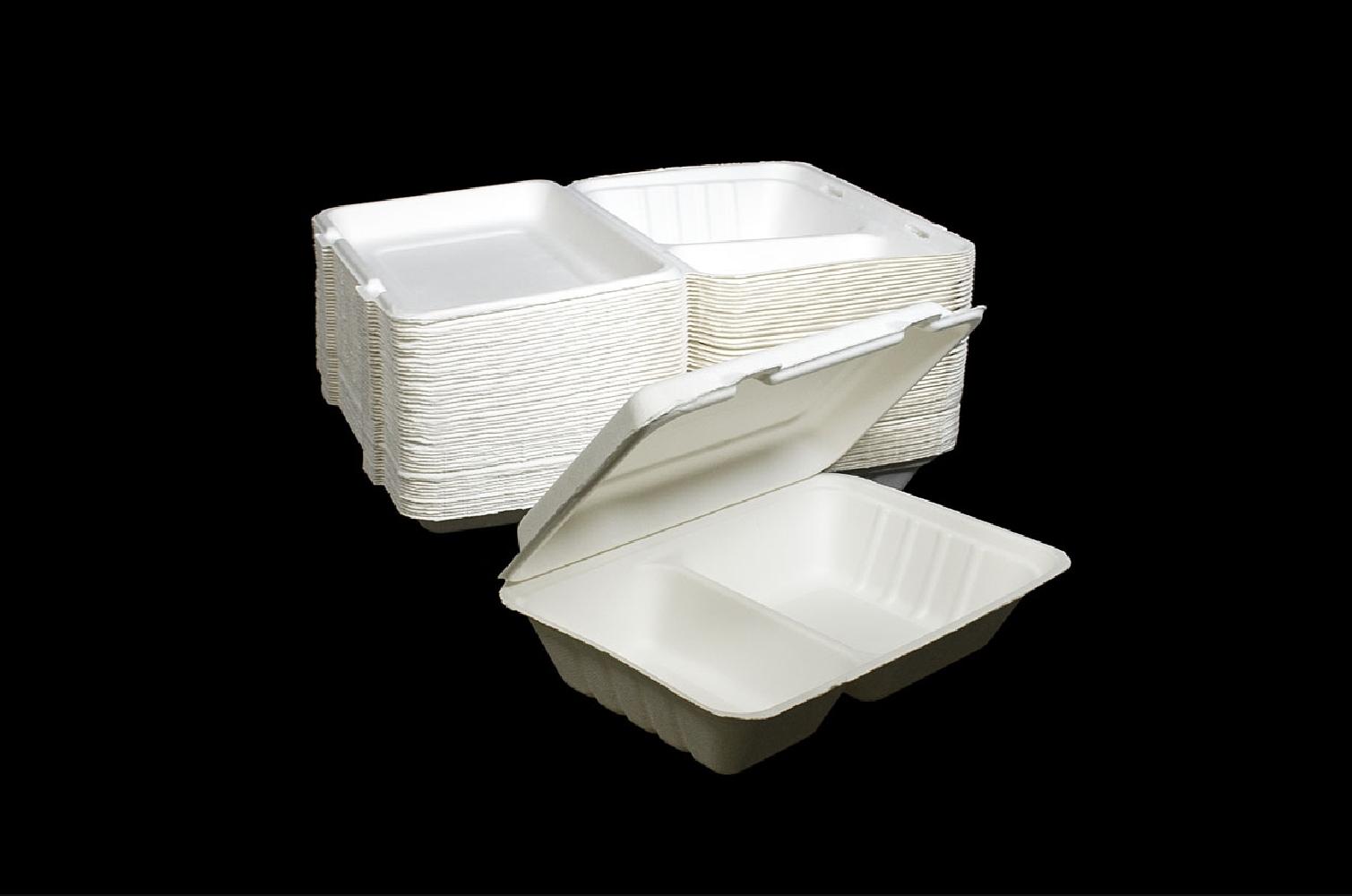 BOX a due Scomparti IN BAGASSA (50 PEZZI) per packaging d'asporto e delivery per professionisti ristorazione online ingrosso