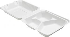 CONTENITORE ECO IN BAGASSA a tre scomparti per delivery, asporto e Take Away - vendita online all'ingrosso
