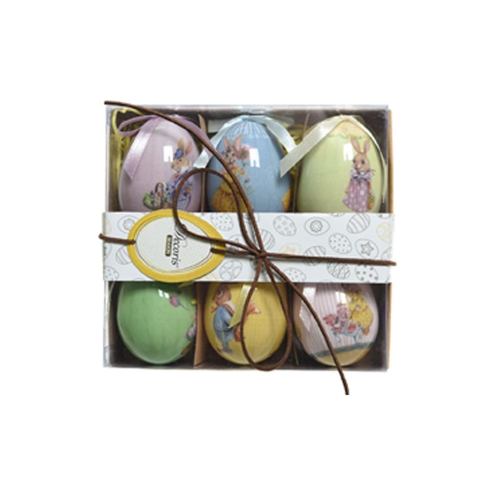 Uova con coniglietti appendibili (6 pezzi)