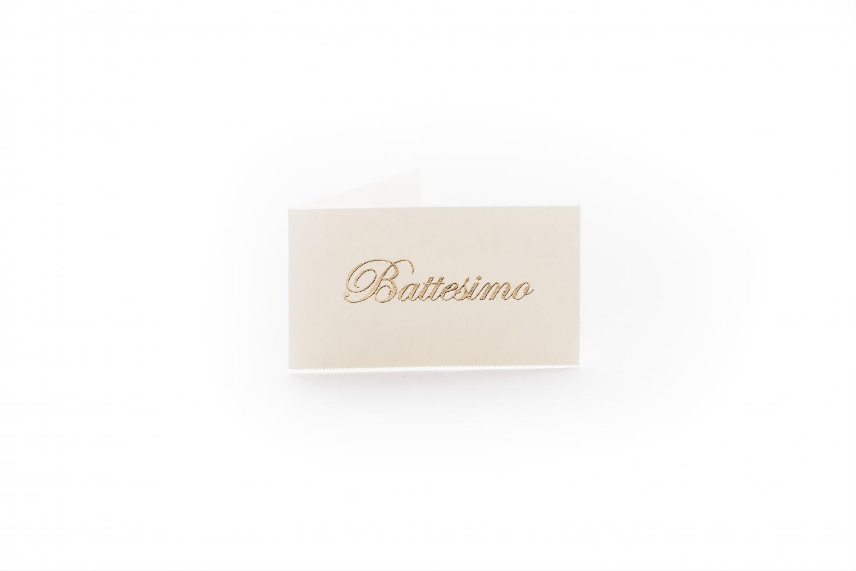 Bigliettini con scritta battesimo oro (100 pezzi)