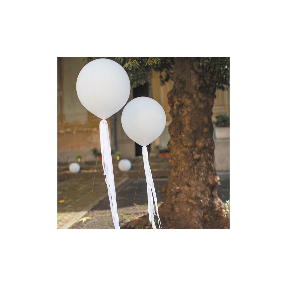 1 palloncino+ 6 fiocchi bianchi