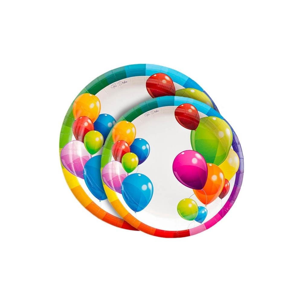 Piatti tondi carta palloncini (8 pezzi)