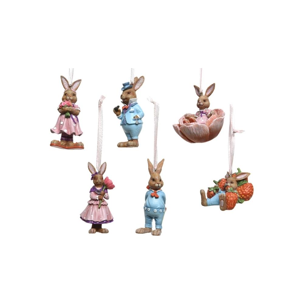 Coniglietti in resina da appendere