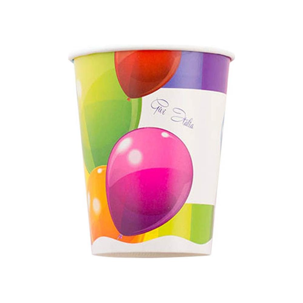 Bicchieri carta palloncini (8 pezzi)