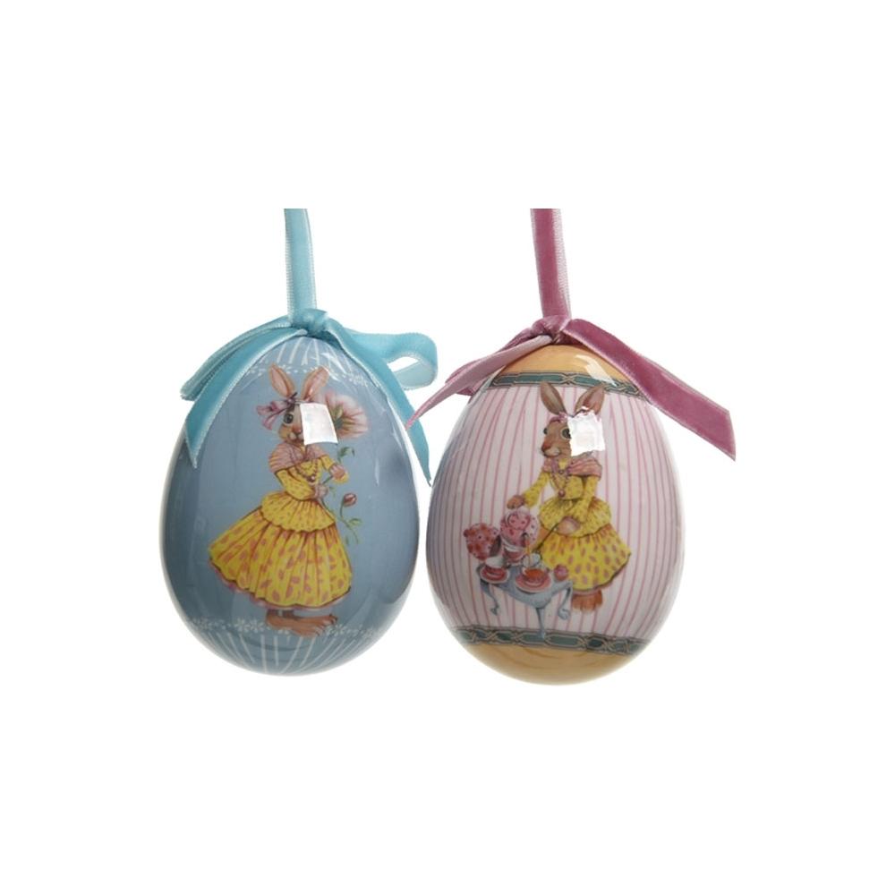 Uova con coniglietti appendibili (2 pezzi)