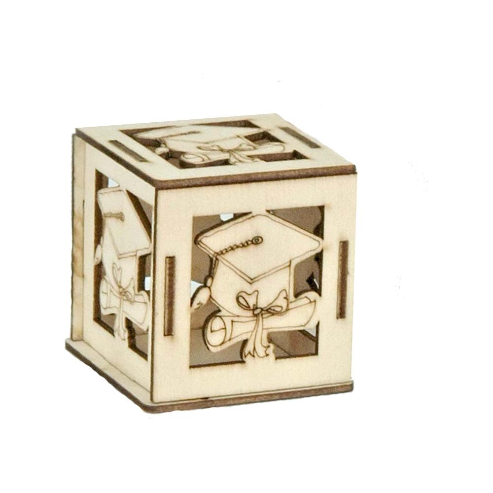 Scatola in legno tocco laurea (6 pezzi)