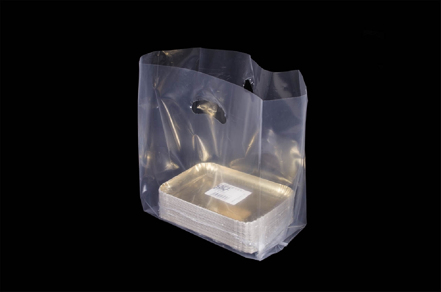 Shopper in plastica con manico a fagiolo (100 pezzi)