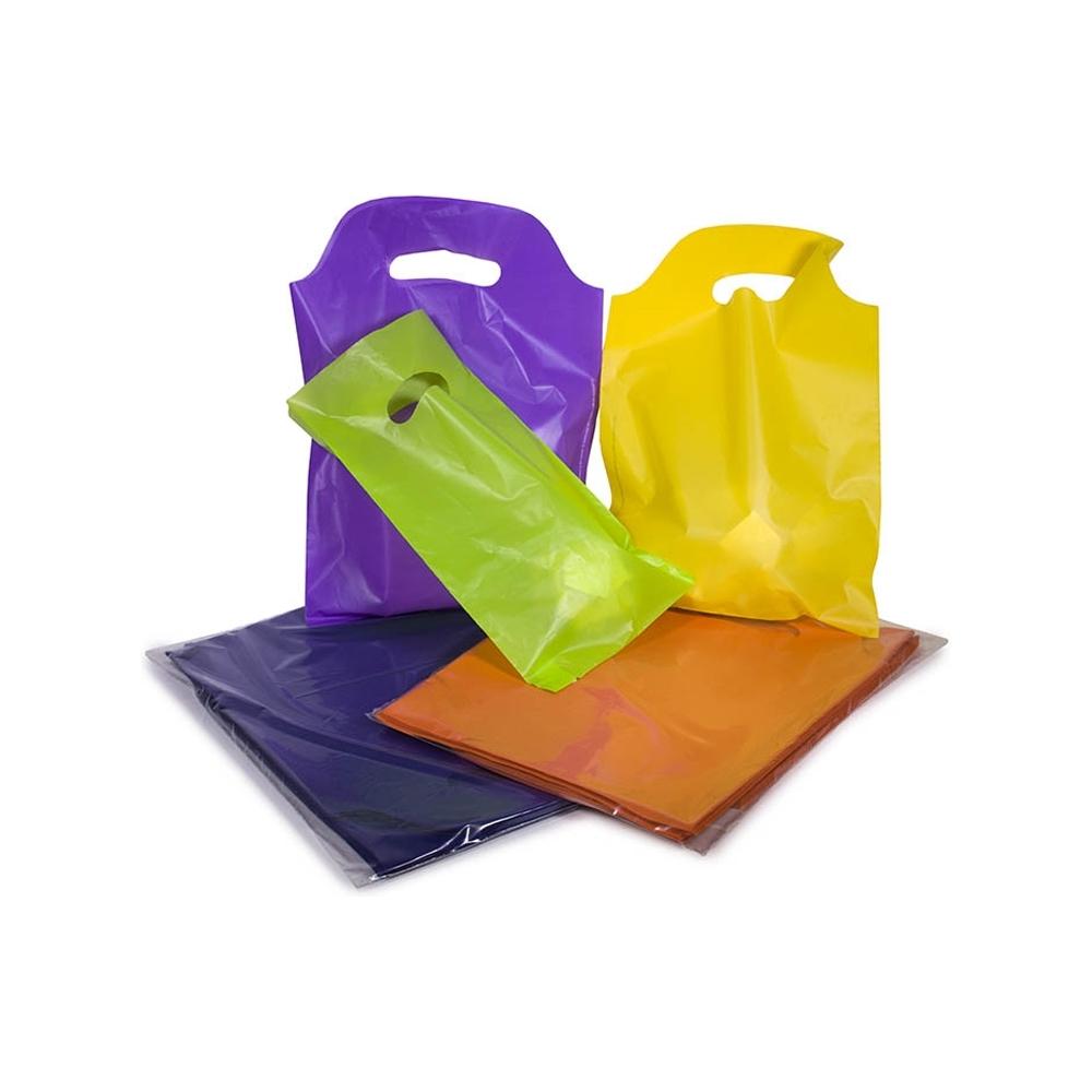 100 sacchetti in plastica con manico a fagiolo