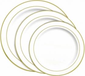 PIATTI IN PLASTICA CON BORDO ORO (20 PEZZI)