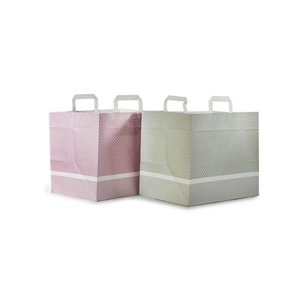Sacchetti in carta pois con maniglia piatta e fondo largo