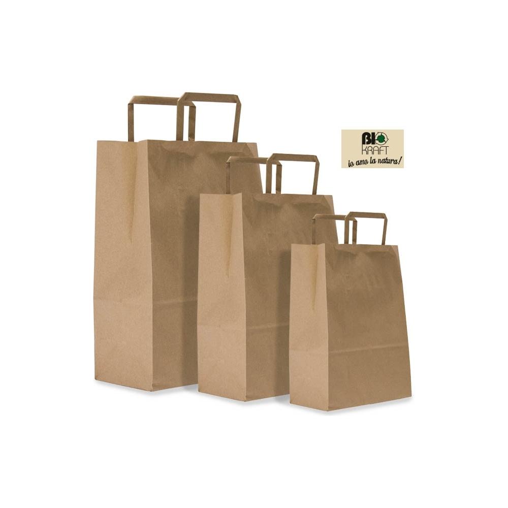 Sacchetti in carta biokraft con maniglia piatta (400 pezzi)