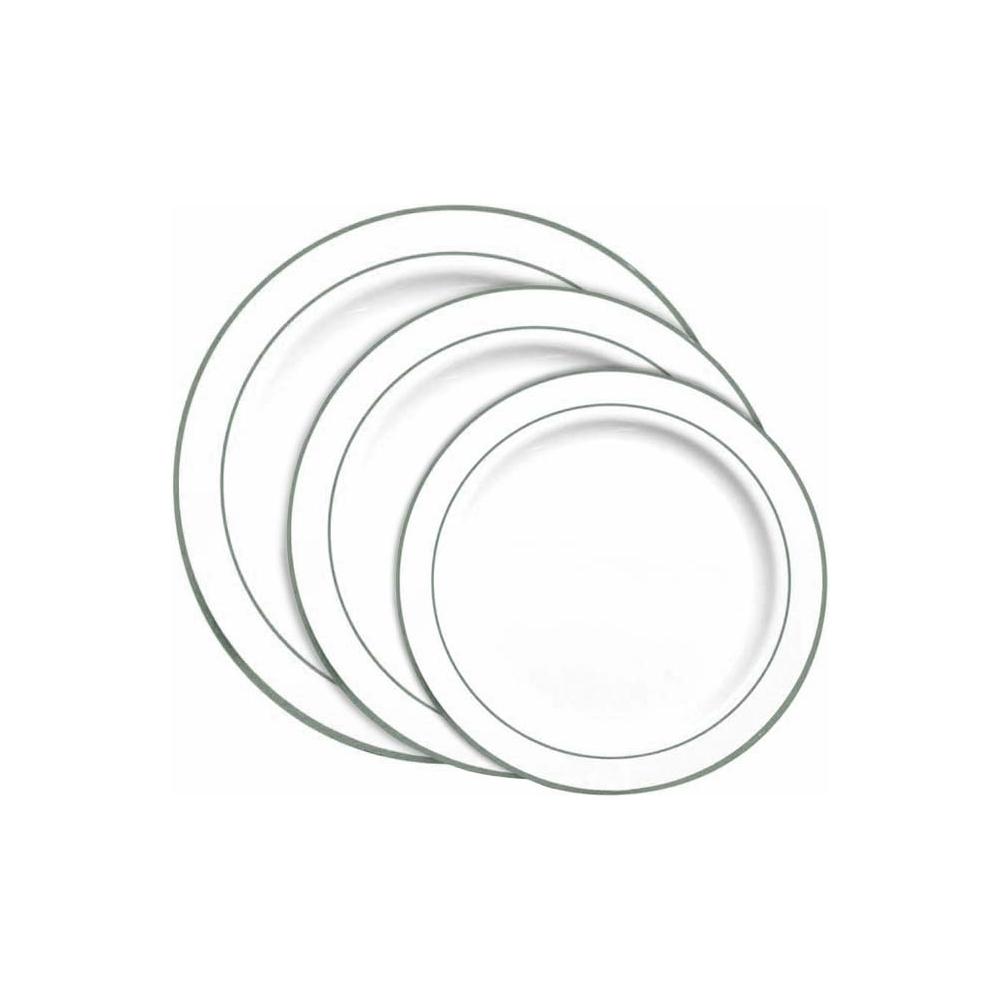 Piatti in plastica con bordo argento (20 pezzi)