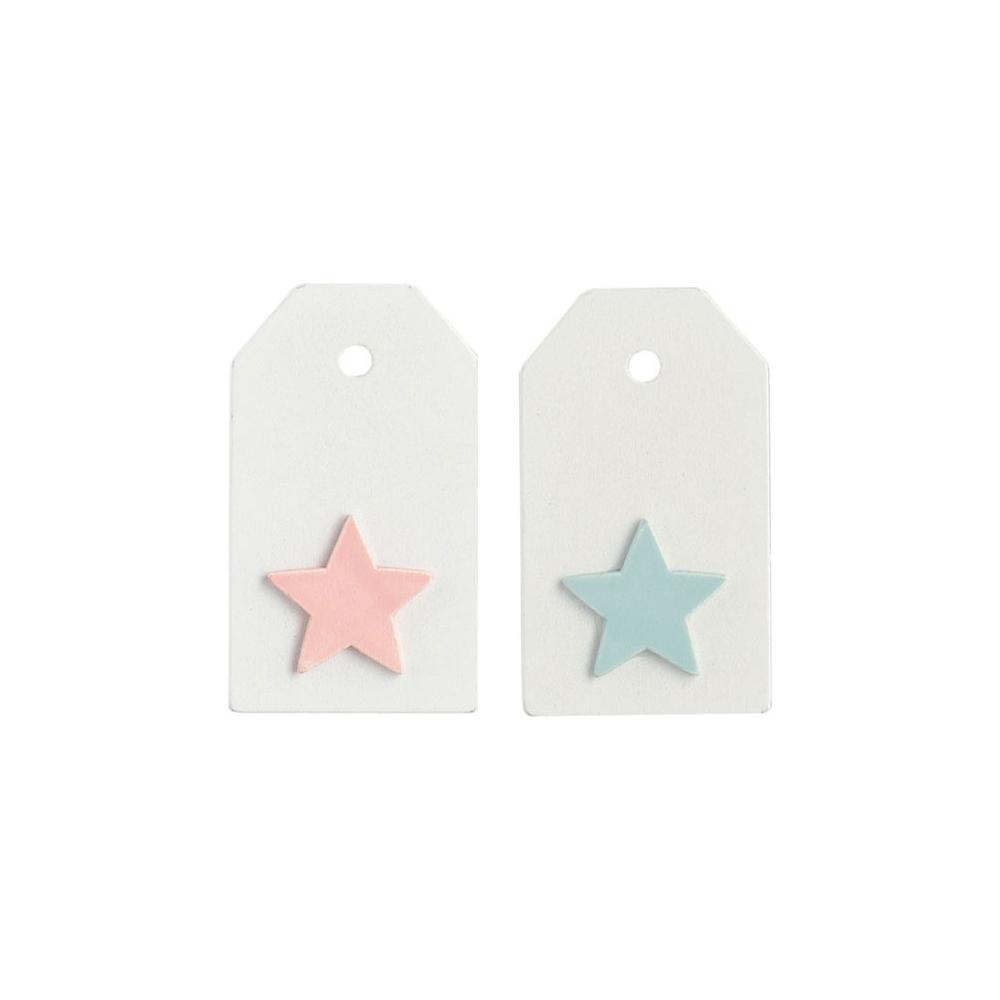 Targhetta con stella rosa (12 pezzi)