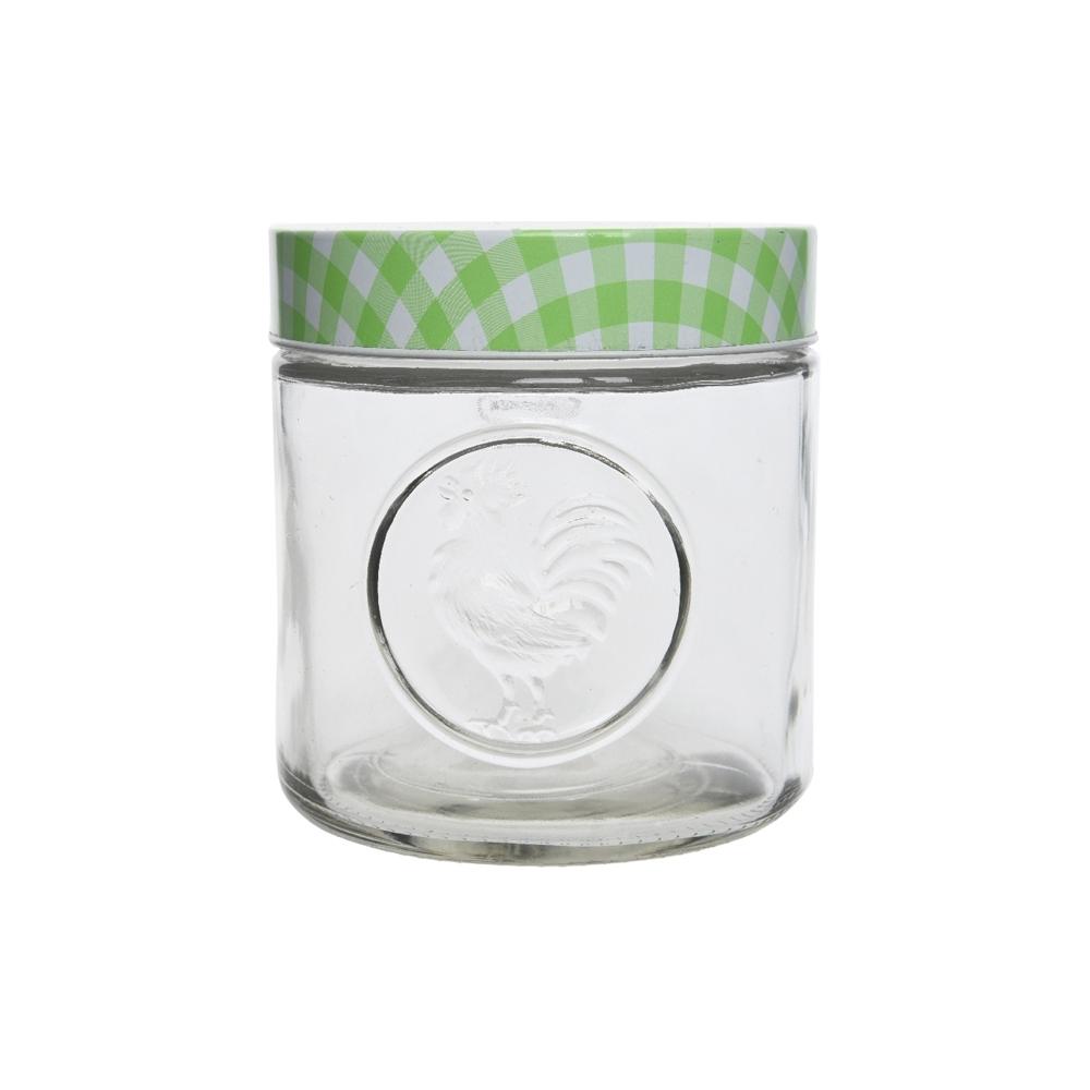 Barattolo in vetro con coperchio decorato