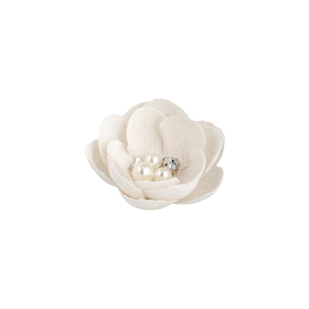Fiore con perle e strass (12 pezzi)