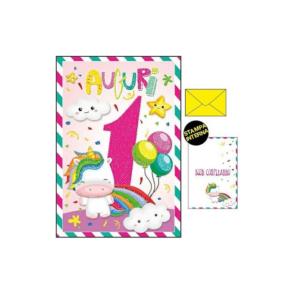 Biglietto compleanno con unicorno