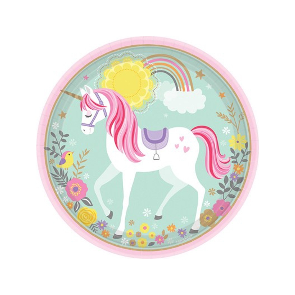 Piatti in carta unicorno (8 piatti)