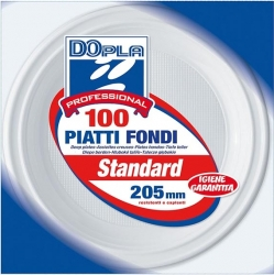 PIATTI IN PLASTICA FONDI (100 PEZZI)
