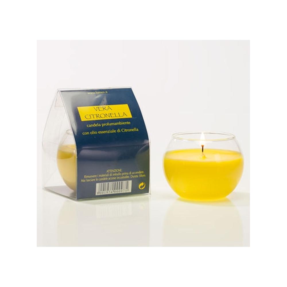Candela sferica con olio di citronella