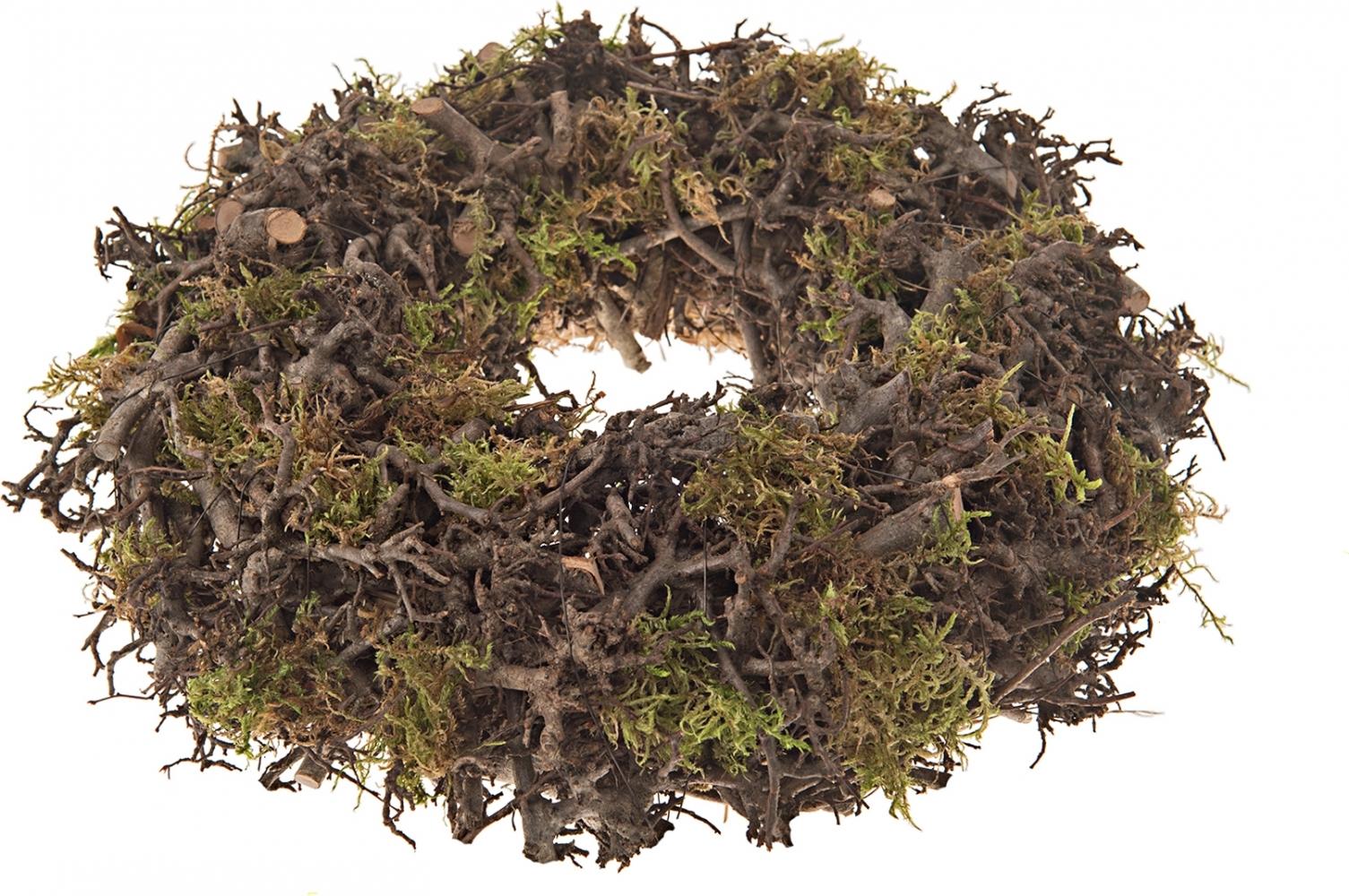 Corona naturale con legni di bonsai e muschio