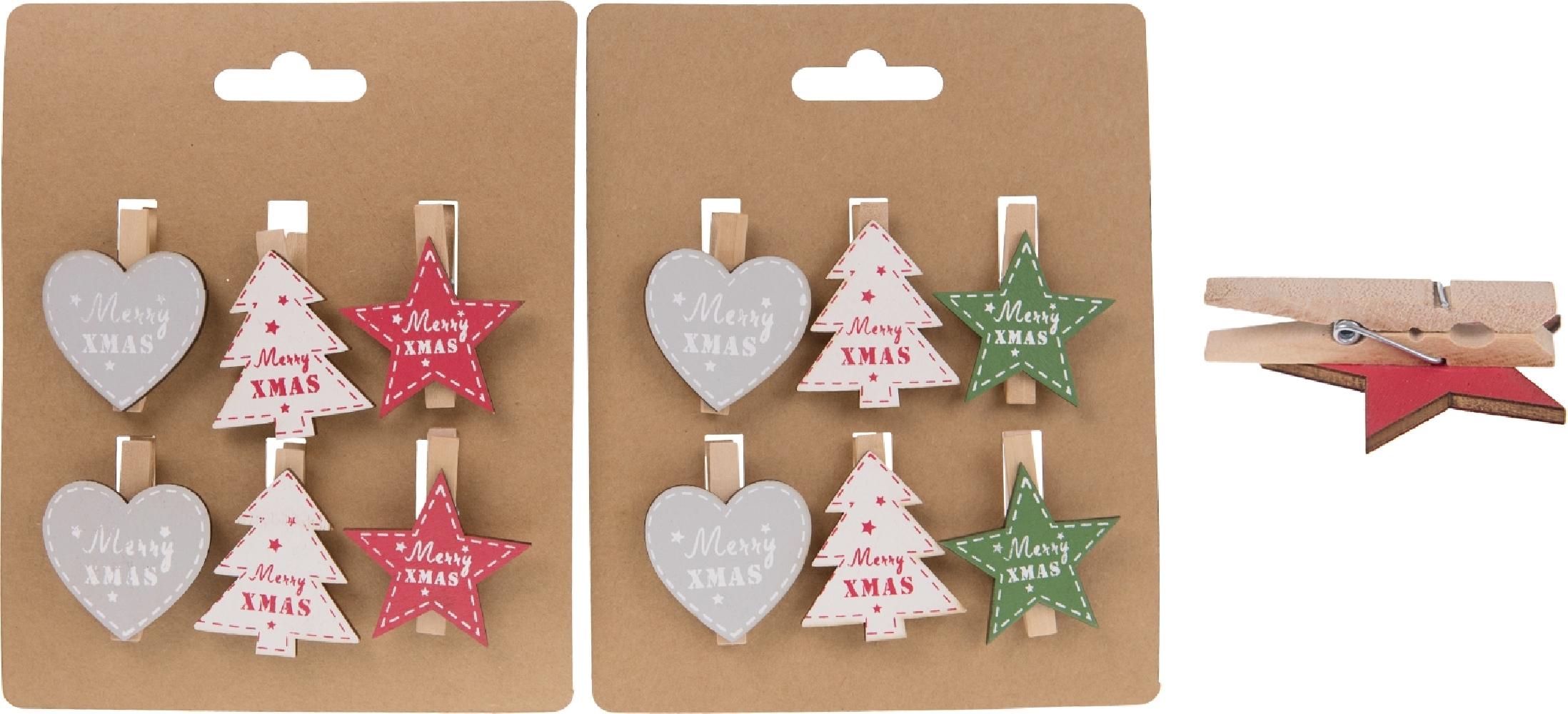 Clip natalizie in legno (6 pezzi)