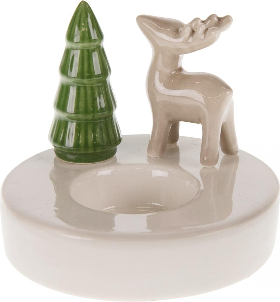 Porta candela con renna