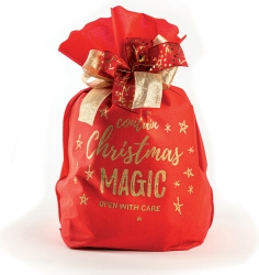 Buste in tessuto non tessuto con stampa Christams magic color rosso