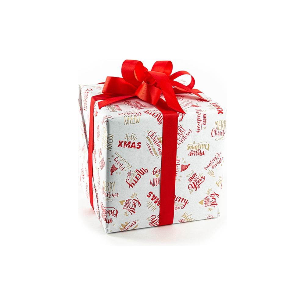 Bobina carta regalo con fantasia scritte rosse