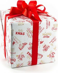 Bobina carta regalo con fantasia scritte. Disponibile in rosso e nero. Vendita all'ingrosso e online