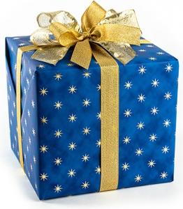 carta da regalo con stampa stelle oro, in confezione da 25 fogli. Disponibile in rosso e blu. vendita all'ingrosso e online
