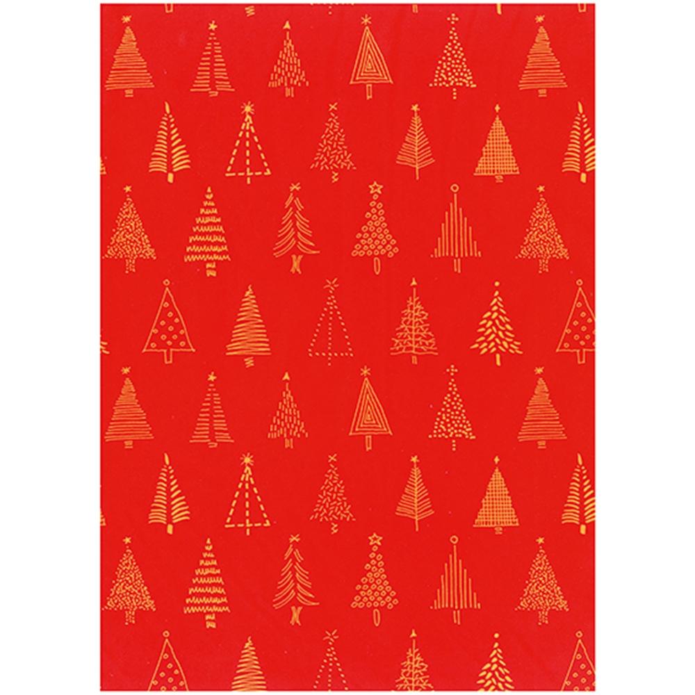 Bobina carta regalo rossa con stampa pini oro