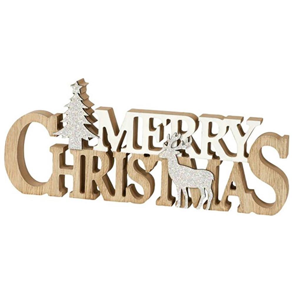 Scritta merry christmas in legno