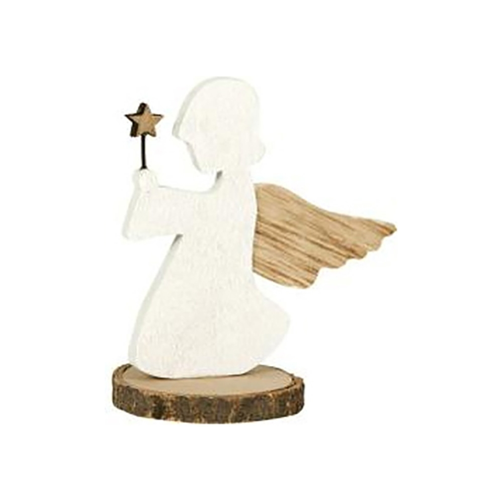 Angelo con base in legno