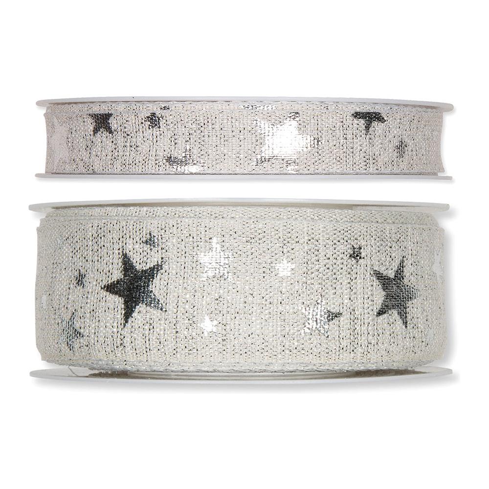 Nastro tessuto glitter stelle argento
