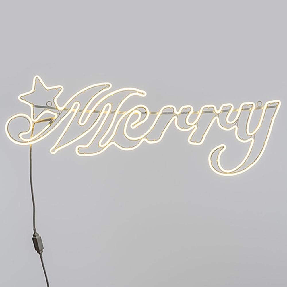 Scritta merry led con luci neon