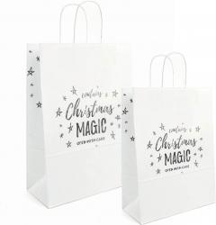 sacchetto in carta bianca con stampa natalizia