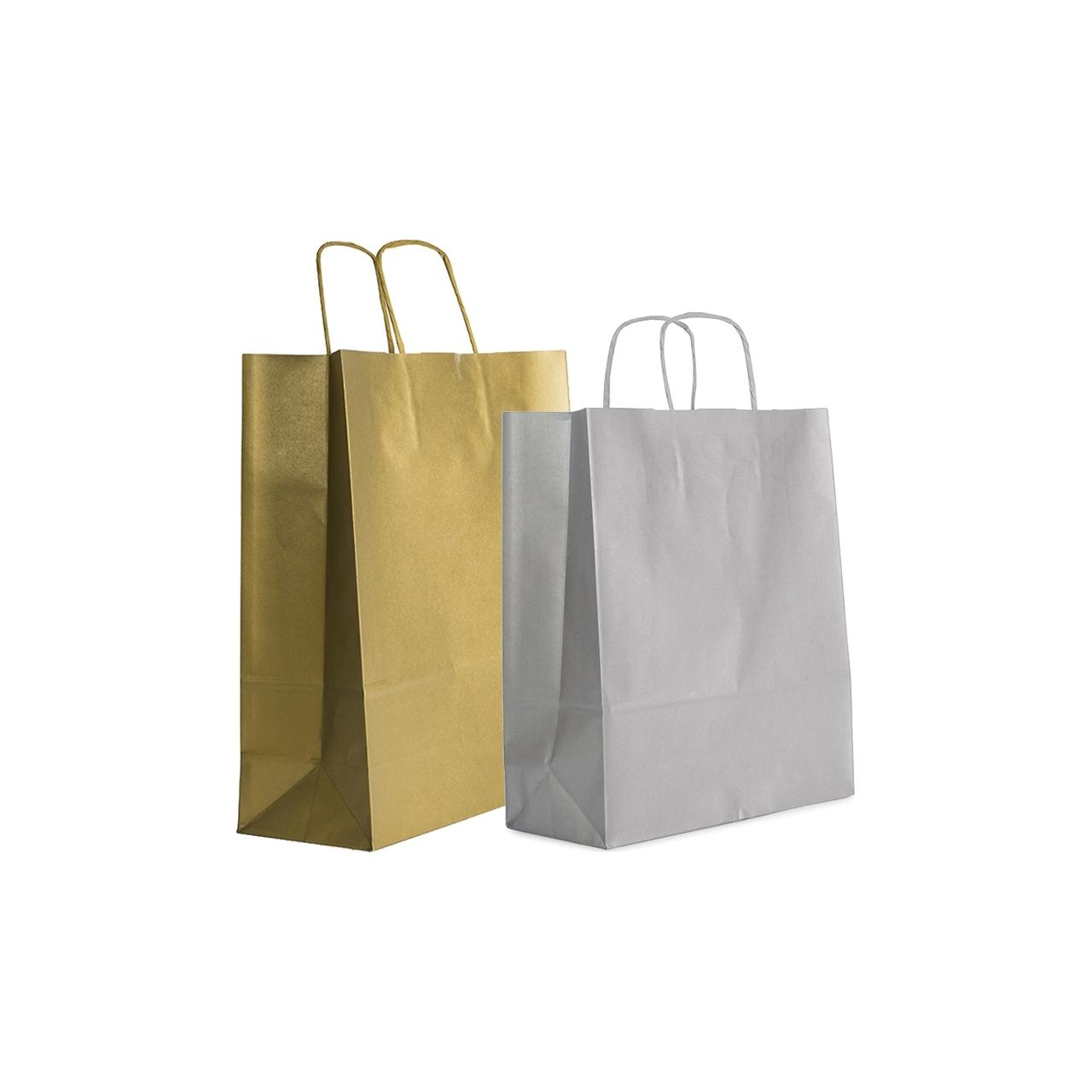 Busta shopper in carta oro e argento con cordino ritorto - vendita online all'ingrosso b2b