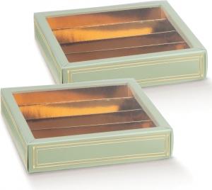 Scatola Porta Cioccolatini con Fascetta Elegance Verde (10 Pezzi)