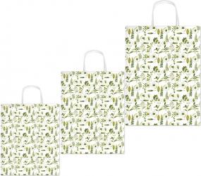 Borse in carta con disegno foglioline verdi