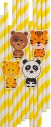 Cannucce in carta zoo party in confezione da 10 pezzi