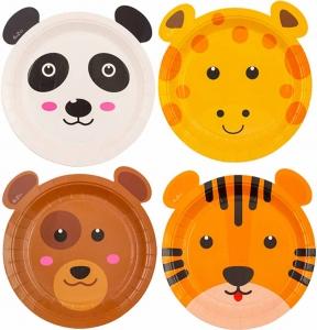 Piatti in carta sagomati zoo party in confezione da 8 pezzi