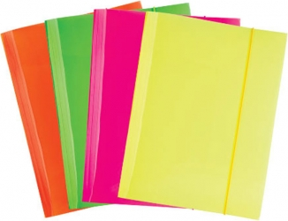 Cartella con elastico, colori fluo